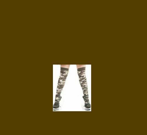Khaki Army Camouflage Over The Knee Socks Size UK 4-6 Fancy Dress Ladies Socks