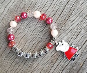 Personalised Fine Silver Your Name Kids Girls Bracelet Peppa Pig Gift Wristband