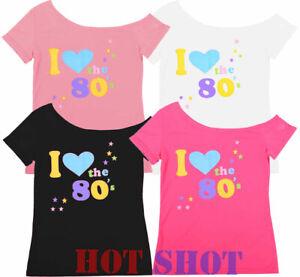 Détails sur Femme Femmes Top \u0027I Love 80s\u0027 T,shirt Costume Robe Fantaisie  Fluo Festival Costume, afficher le titre d\u0027origine