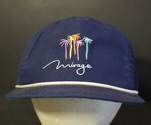 Vintage-Las-Vegas-Trucker-Hat-Cap-Mirage-Leather-Strapback-Retro-Hipster-Blue