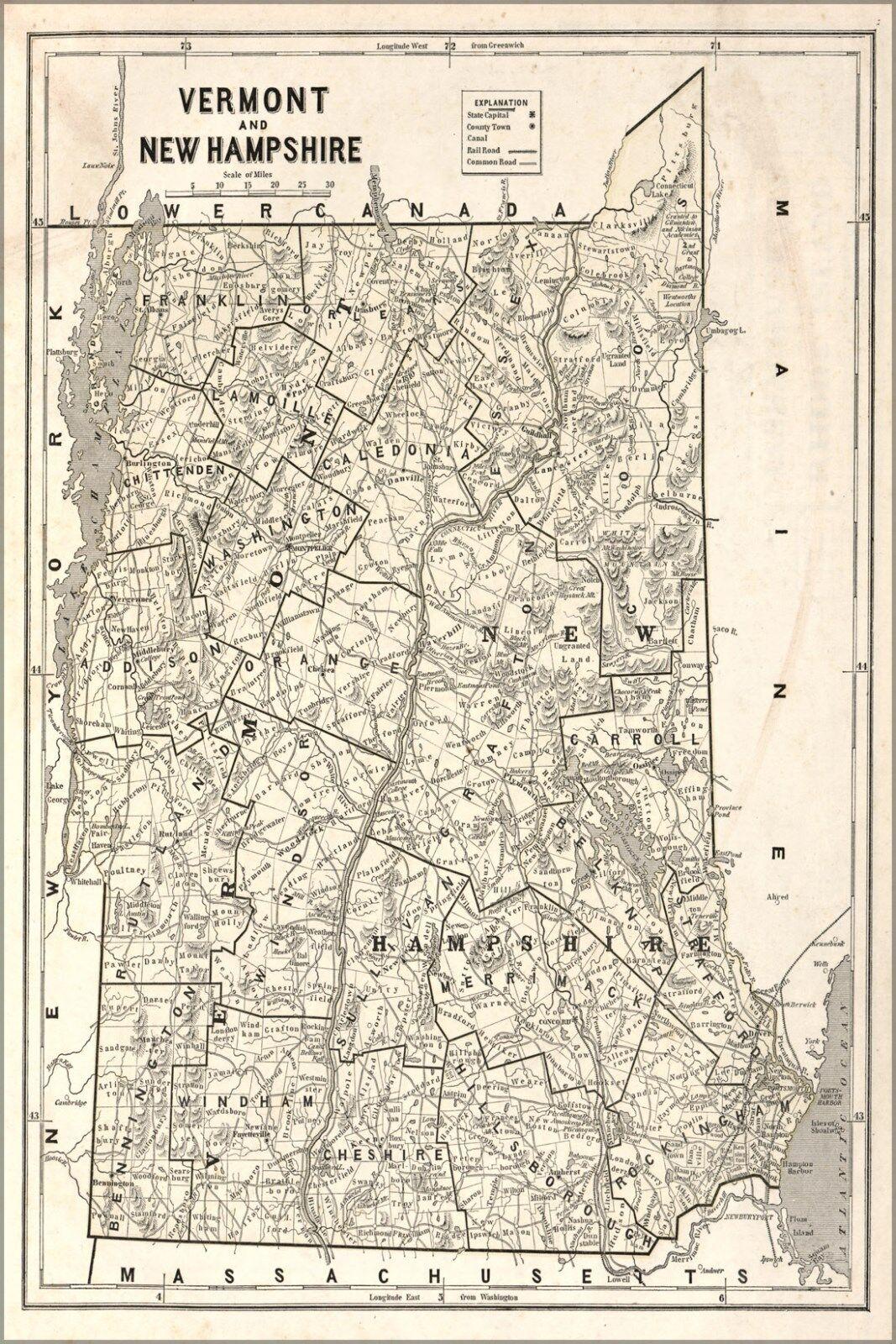 Poster, Molte Misure; Mappa Del Del Del Vermont & Nuovo Hampshire 68aa72