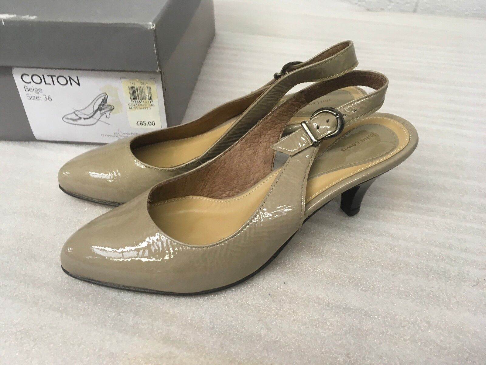 JOHN LEWIS WOMEN'S COLTON BEIGE PATENT SHOES SIZE 3 36 NEW RRP £85 JLA4