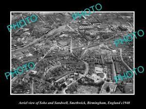 OLD-LARGE-HISTORIC-PHOTO-AERIAL-VIEW-SOHO-amp-SANDWELL-BIRMINGHAM-ENGLAND-c1940