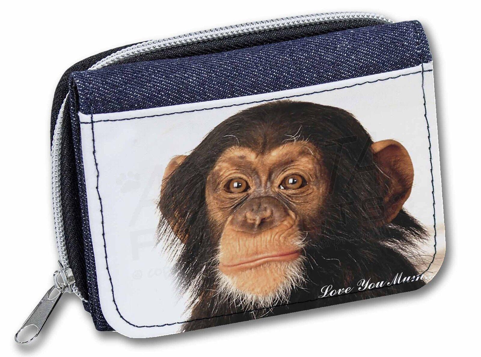 Chimpanzee 'Love You Mum' Girls/Ladies Denim Purse Wallet Christmas G, AM-1lymJW