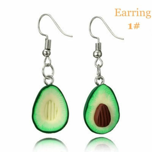KeyRing Jewelry Set Necklace Green Avocado Pendant Dangle Earring Keychain