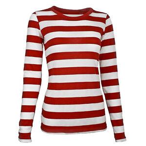 Adult-Women-039-s-Long-Sleeve-Red-White-Waldo-Cosplay-Striped-Shirt-XS-S-M-L-XL-XXL