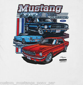 c227354b Ford Mustang T Shirt Tee White Men 1964 1965 1966 65 66 Coupe ...
