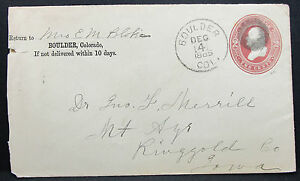 US-Postal-History-Stationery-Cover-Boulder-Fancy-Cancel-1885-GS-USA-Brief-H-6831