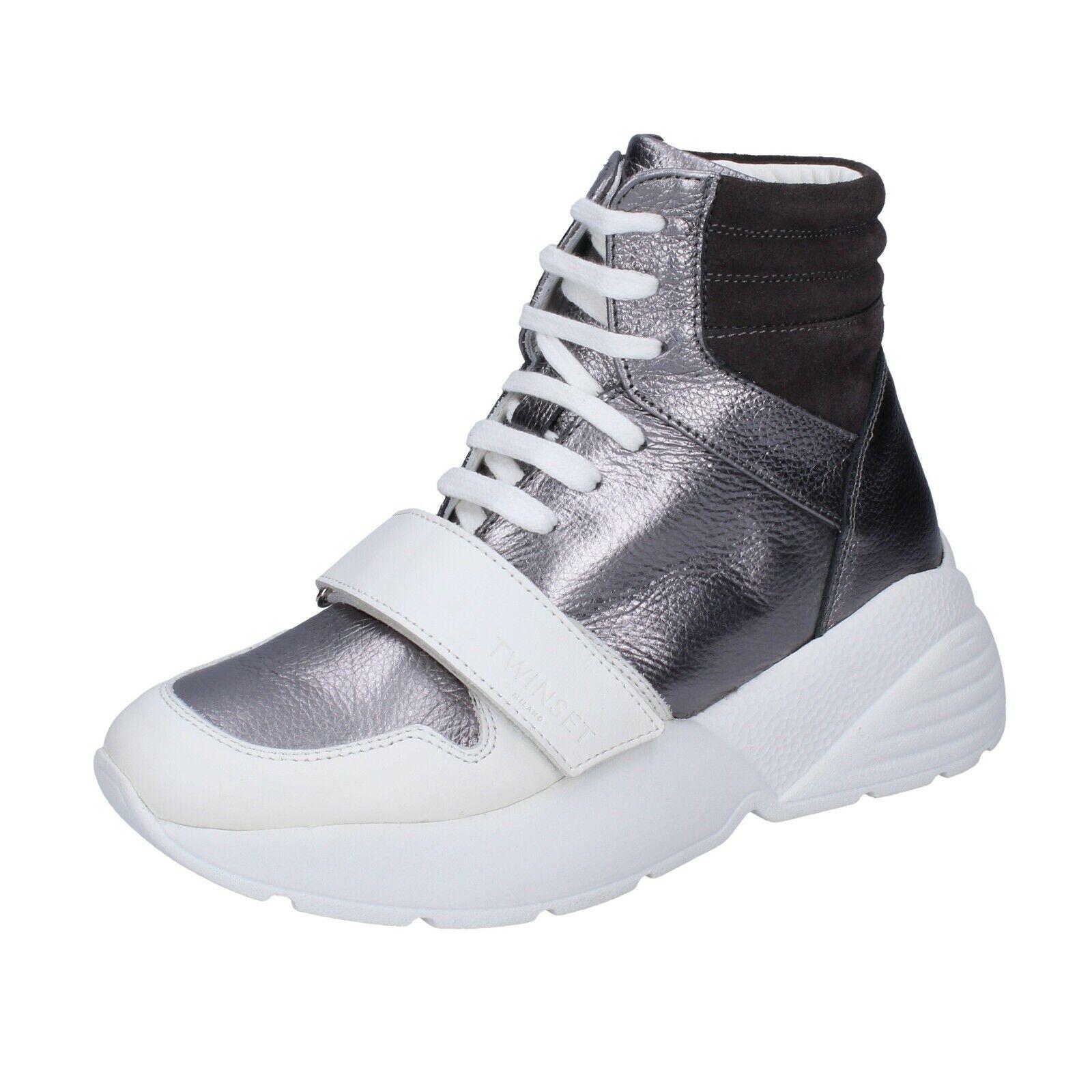 Chaussures Femme TWIN-SET 39 Ue Baskets Gris Cuir Blanc en Daim BJ482-39