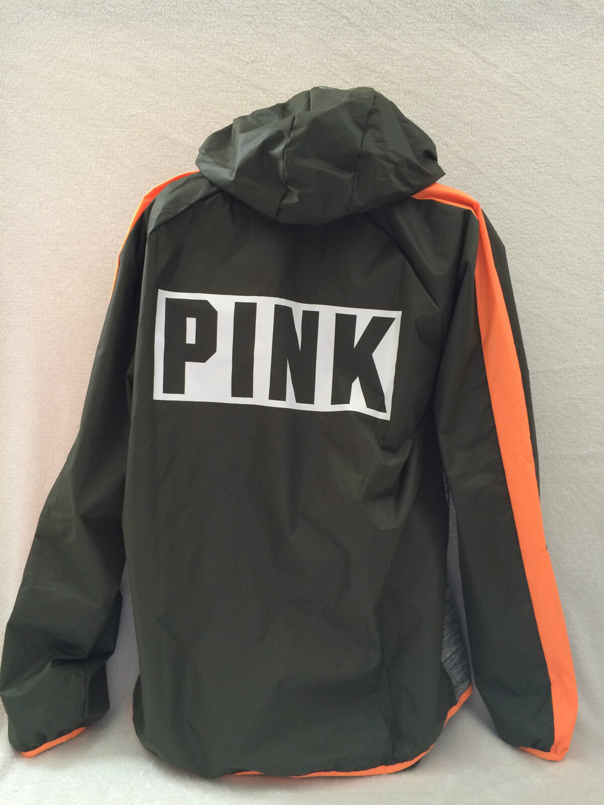 VICTORIA'S SECRET PINK ANORAK ZIP HOODIE,OLIVE MARL GREY orange XS  SM