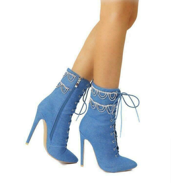 Women Rhinestone Tassel Pointy Toe Slim Stilettos Heel Denim Ankle Boots Shoe D