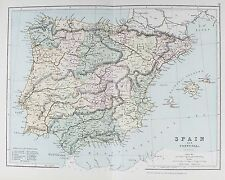 Old Print Map C1901 Spain Portugal Majorca IBIZA Minorca Gibraltar