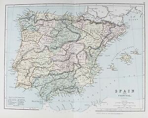 OLD ANTIQUE MAP SPAIN PORTUGAL MAJORCA MINORCA c1879 by G PHILIP