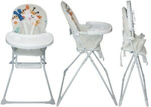 Details about Portable Giraffe Baby High Chair With Feeding Tray PaddedSeat Foldable Highchair