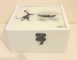 Albert Dubout Black Cartoon Cat Design Wooden Box for (4 Designs)