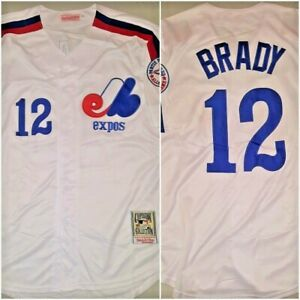 Details about VERY RARE Tom Brady #12 Montreal Expos Baseball Jersey White Mens Size LARGE