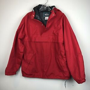 cd36a7121f3e5 Vtg Woolrich Gore-Tex Water Resistant Red 1 2 Zip Pullover Hooded ...