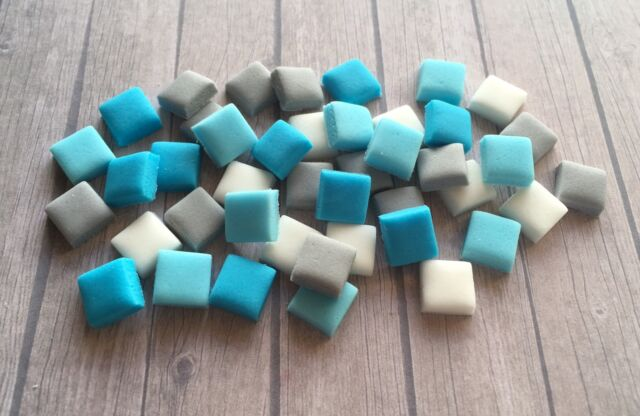 100 Pixel Squares Minecraft Style Cake Cupcake Topper Decoration 1cm Diamond Ore