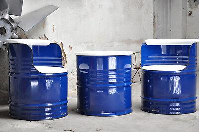 DemüTigen Sitzgruppe Aus 200 Liter Neu Fass Ölfass Beschichtung Nach Wahl Phantasie Farben