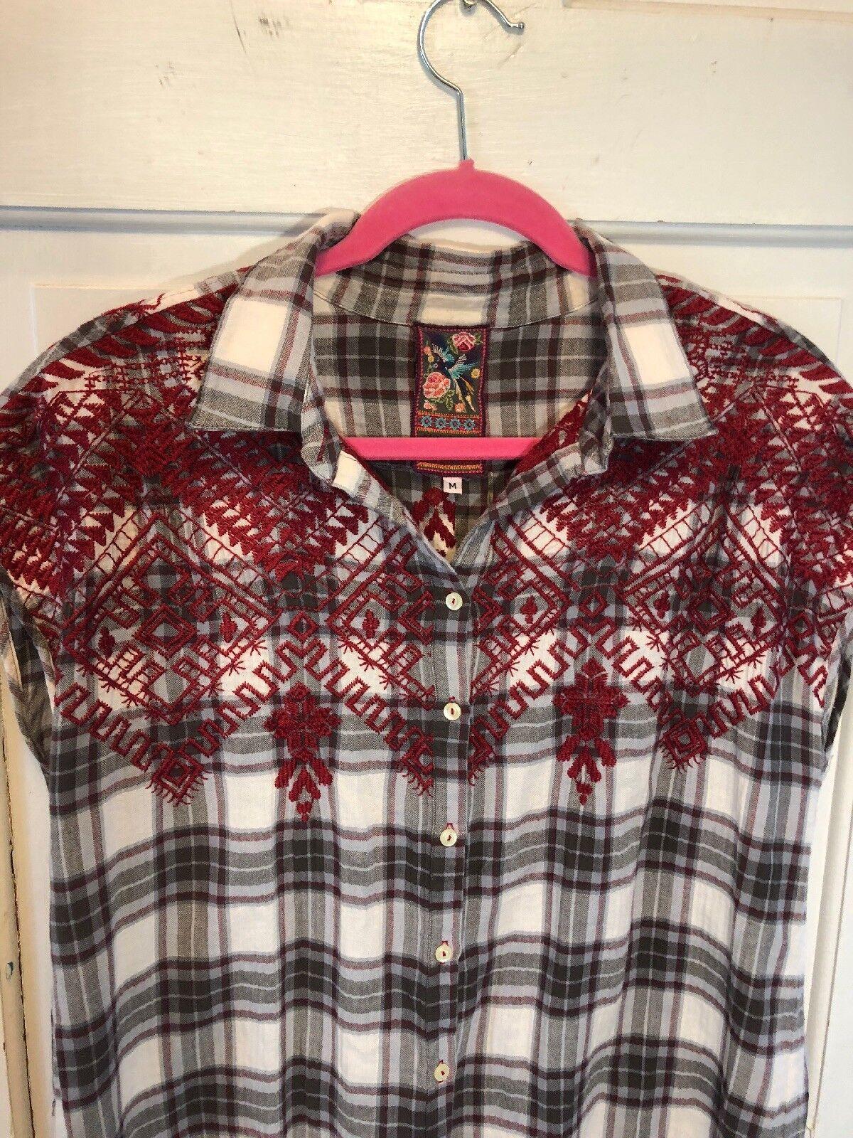 Johnny Was Biya Plaid Flannel Embroiderot Sleeveless Tunic Dress M New