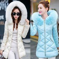 Pop Womens Winter Coat Jacket Down Padded Fur Collar Warm Long Hooded Outwear