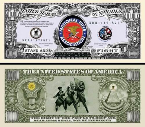 NRA National Rifle Association Million Dollar Fake Funny Money with FREE SLEEVE