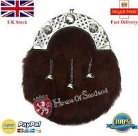 Men's Full Dress Kilt Sporran Brown Rabbit Fur/kilt Sporrans Celtic Cantle
