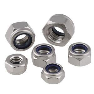 Nylon-Insert-Lock-Nut-Nyloc-Nuts-304-Stainless-M2-M3-M4-M5-M6-M8-M10-M12-M16-M20