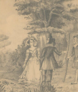 19th-Century-Graphite-Drawing-The-Confrontation