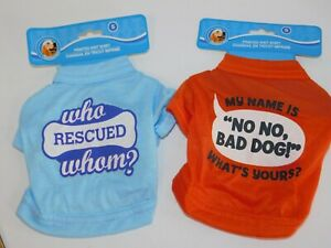 Puppy-Dog-T-Shirts-TWO-Very-Small-Who-Rescued-Whom-amp-My-Name-is-No-No-Size-Small