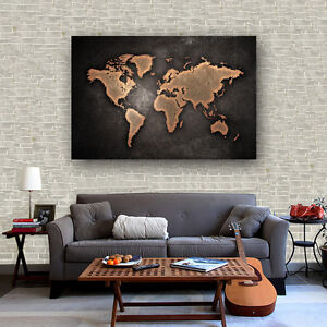 Abstract fabric canvas poster vintage art draw world map bar cafe image is loading abstract fabric canvas poster vintage art draw world gumiabroncs Choice Image