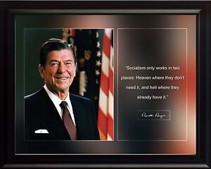 Ronald-Reagan-Photo-Picture-Poster-or-Framed-Famous-Historical-Quote-Socialism