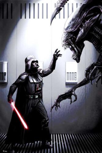 "darth vader vs alien game  Art Print Wall Poster 20/""x13/""  001"
