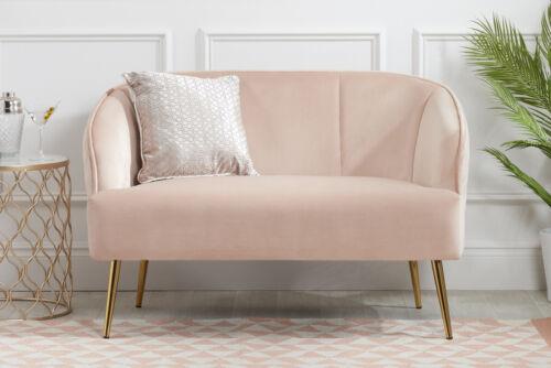 Birlea Bella Bras Fauteuil et canapé 2 places en Velours Rose Blush tissu or avec jambes