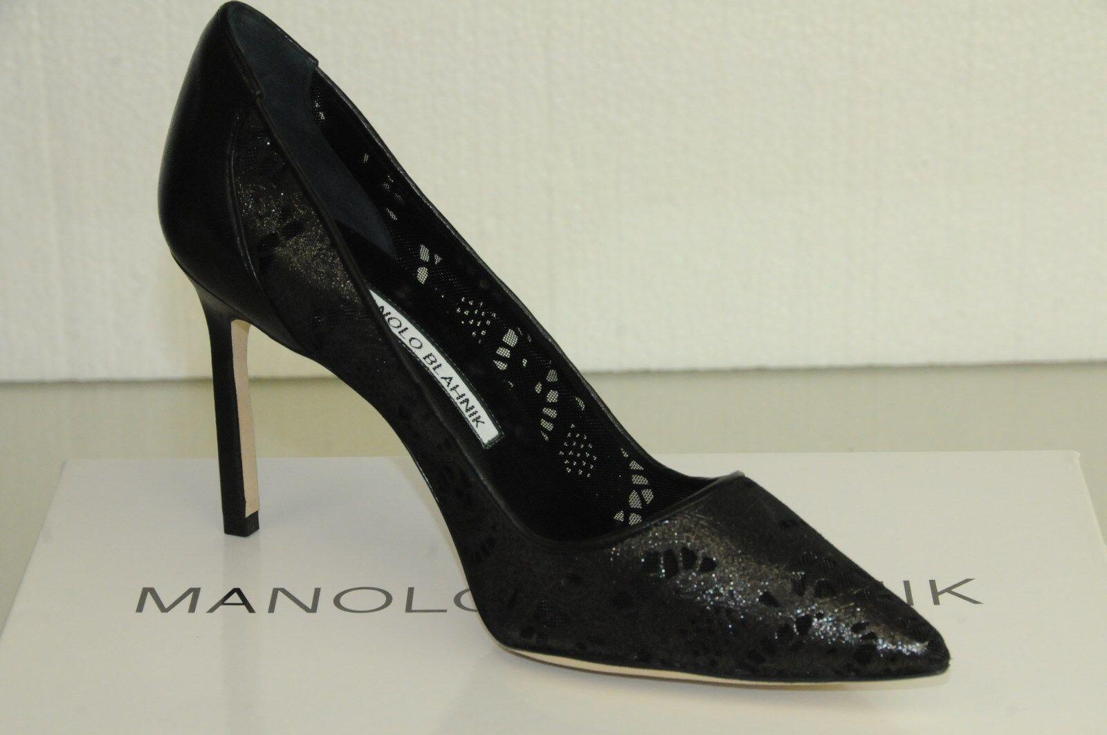manolo blahnik bb 90 de nouvelles chaussures de cuir 36,5 noir à la découpe au laser dentelle 36,5 cuir 37 39 056828