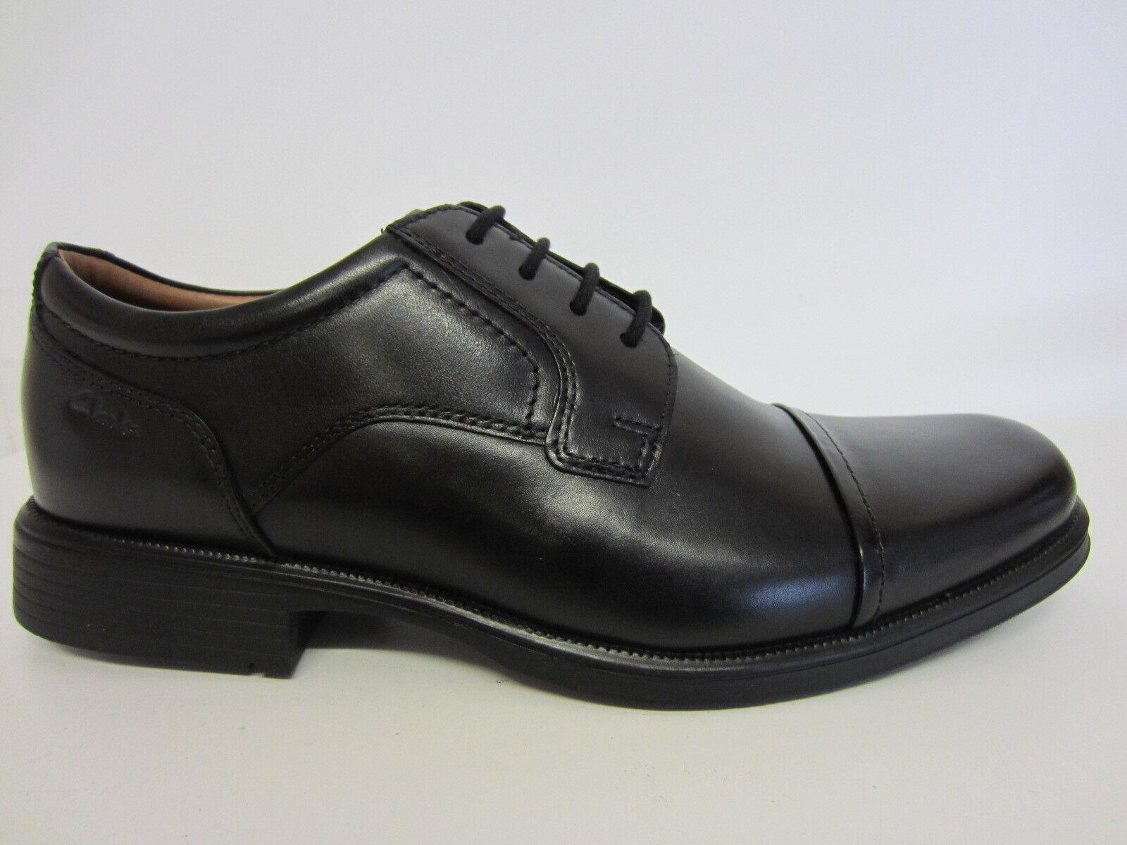 Clarks huckley Kappe Herren schwarze Leder Schuhe G PASSFORM Größen 6 bis 12 (
