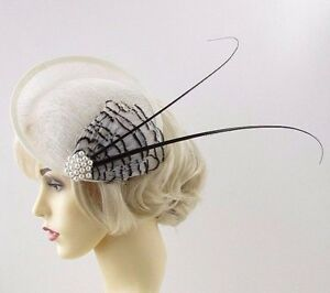 Large Black Ivory Cream Quill Feather Saucer Disc Fascinator Hat Sinamay Vtg 670
