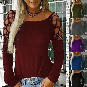 Sexy-Femme-Tops-Manche-Longue-Creux-Col-Rond-Slim-Club-Couelur-Unie-Shirt-Plus