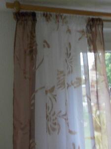 Details Zu Gardine Vorhang Voile Weiß Braun Bedruckt 155 160 180 200 240 Cm Hoch