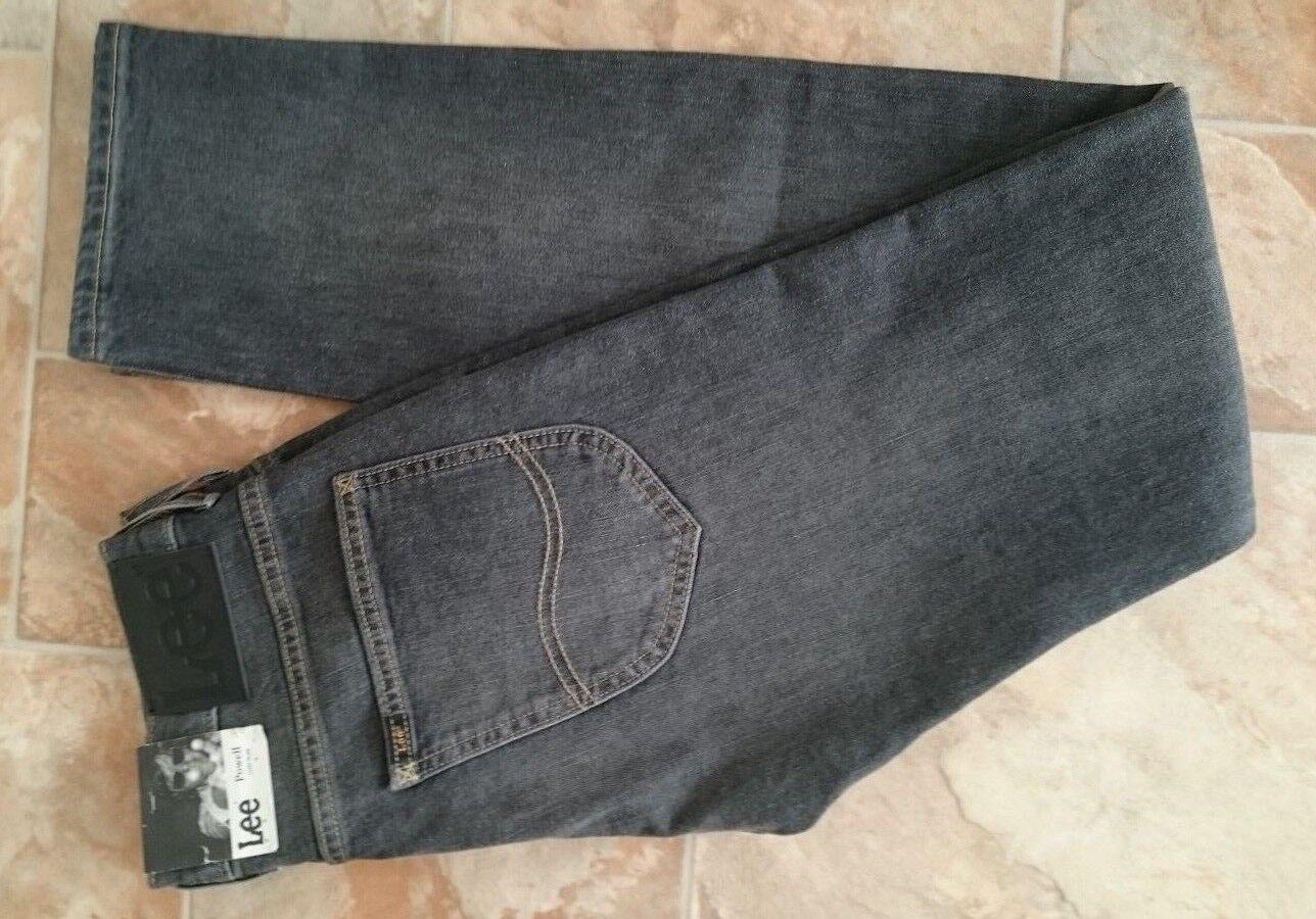 Lee POWELL Jeans,W28,L34,Grey,Mid Rise,Low Slim,Stretch,Men's