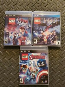 LEGO-LOT-THE-LEGO-MOVIE-THE-HOBBIT-AVENGERS-COMPLETE-FOR-PS3-PLAYSTATION