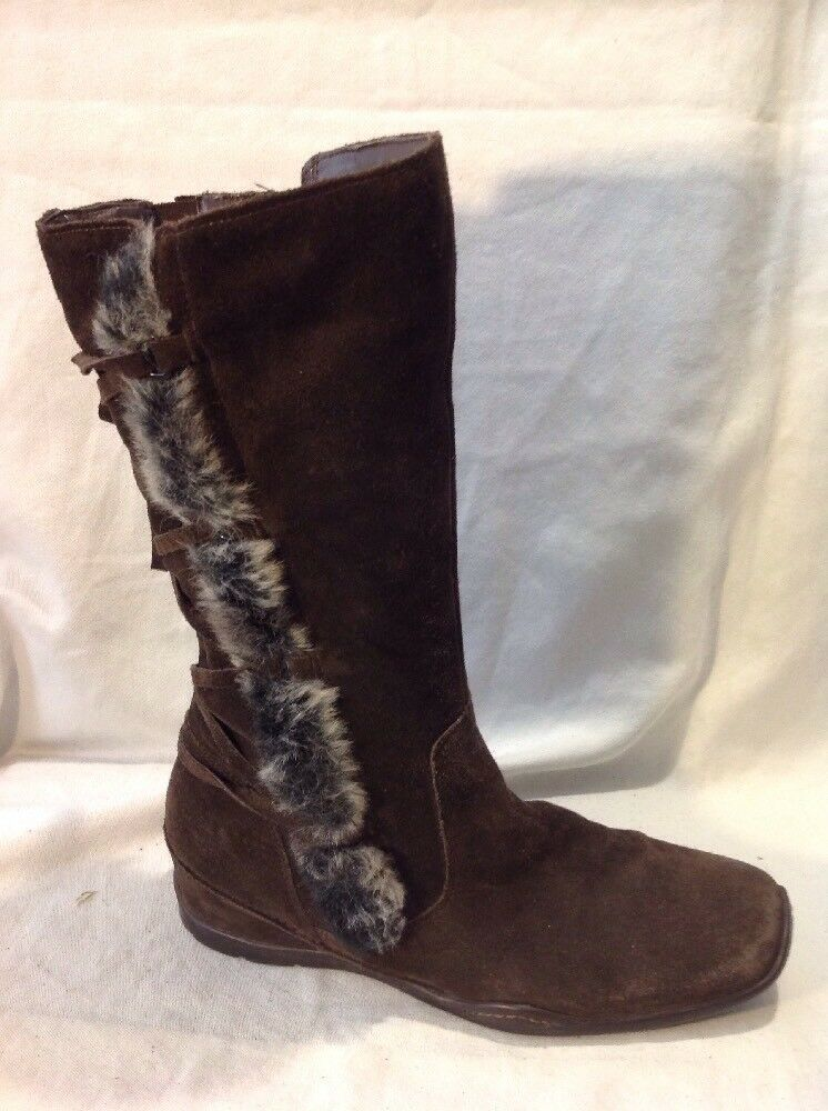 Jane Shilton Brown Mid Calf Suede Boots Size 39