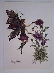 AMY BROWN NEW /&MINT FAIRY POSTCARD//MINI ART PRINT PINK ROSE FLOWER FAIRY FAE