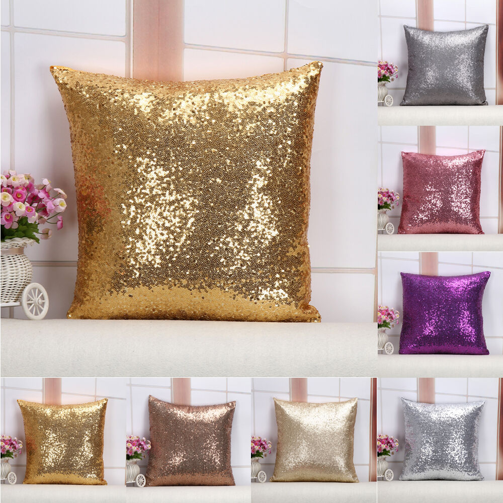 Http Www Ebay Com Itm Solid Glitter Sequins Throw Pillows Case Lounge Cafe Home Decor Cushion Cover 201693945464