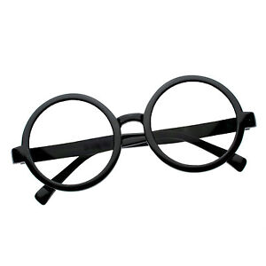 fe824de8361 Image is loading Unisex-Black-Round-Clear-Lens-Eye-Glasses-Nerd-
