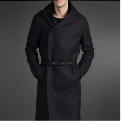 New Mens German Military Hooded Wool Trench With Belt Long Coat Jacket Overcoat