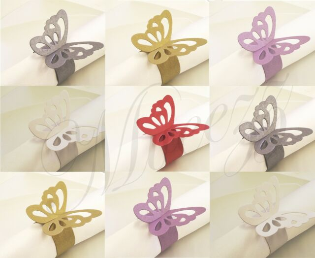 50 BUTTERFLY NAPKIN RING HOLDER WEDDING TABLE DECORATION PARTY FAVOUR UK SELLER
