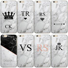 HAIRYWORM PERSONALISED GREY MARBLE MONOGRAM PLASTIC PHONE CASE FOR APPLE IPHONE