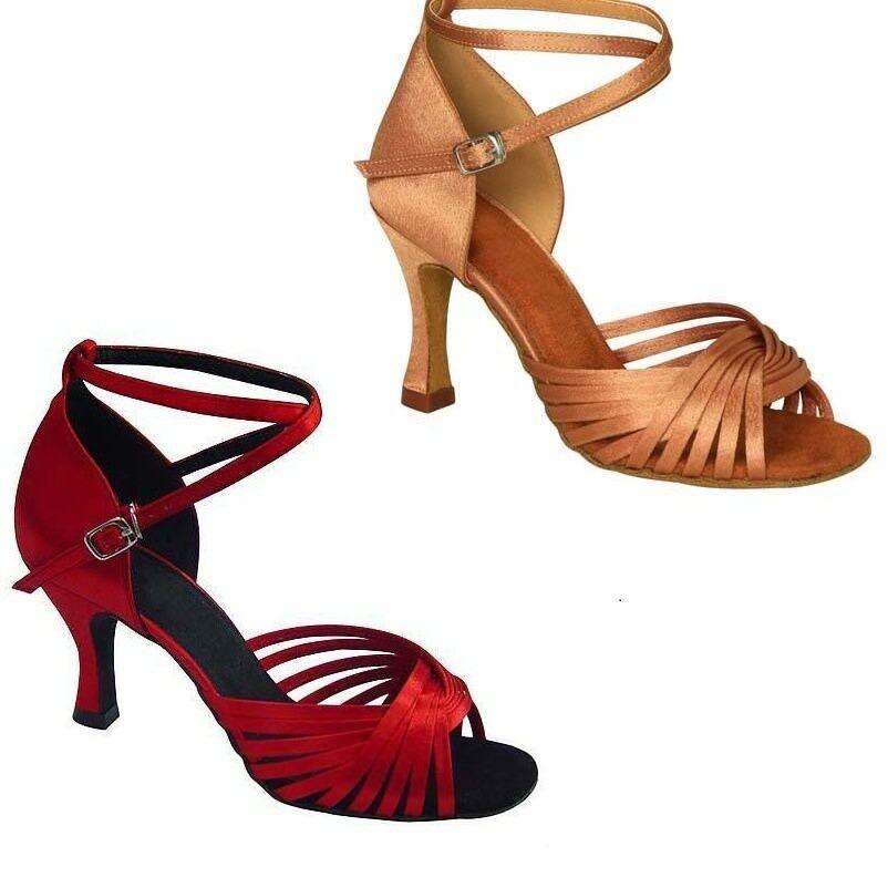 Women's Latin Dance Shoes Ballroom Dance Performance Shoes Roymall 8.5US-Gold