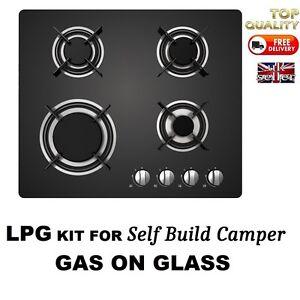 Motorhome-Compact-Gas-Hob-Black-4-Ring-Burner-LPG-KIT-INCLUDED-Self-Build-Camper